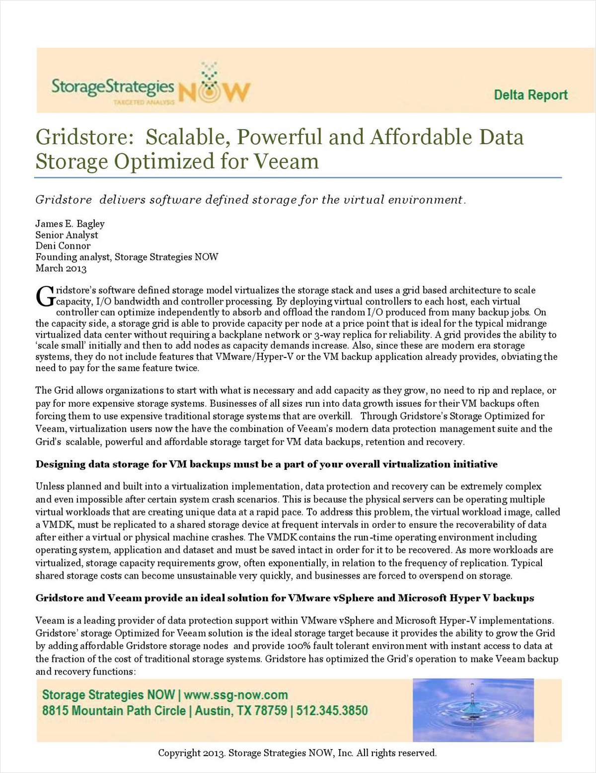 Software defined storage optimized for veeam free gridstore white paper