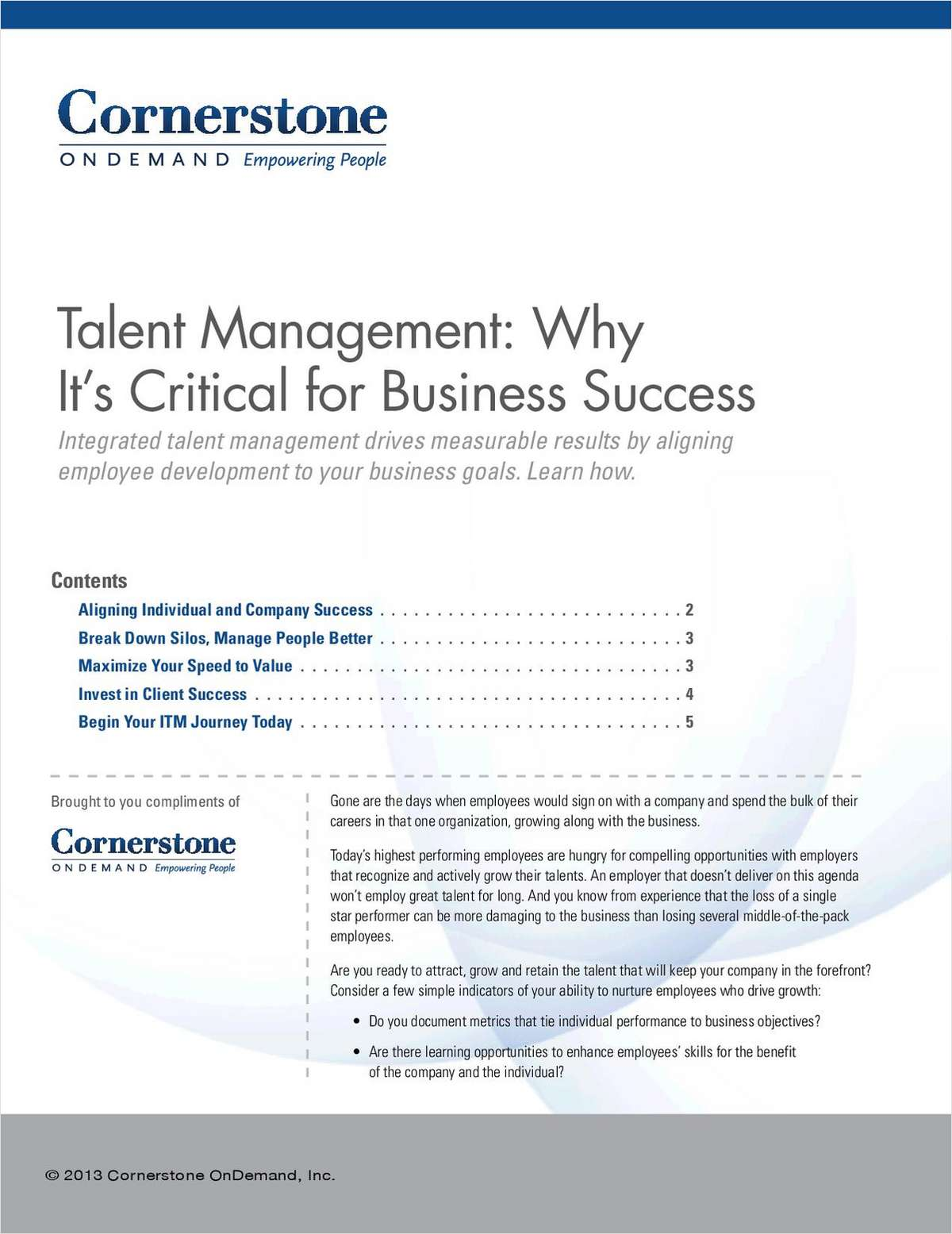 talent management white paper White paper the skillsoft® learning and talent maturity framework™: a path to accelerate hr's adaptability and your workforce's.