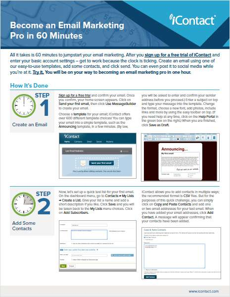 Become an Email Marketing Pro in 60 Minutes, Free iContact How-to Guide