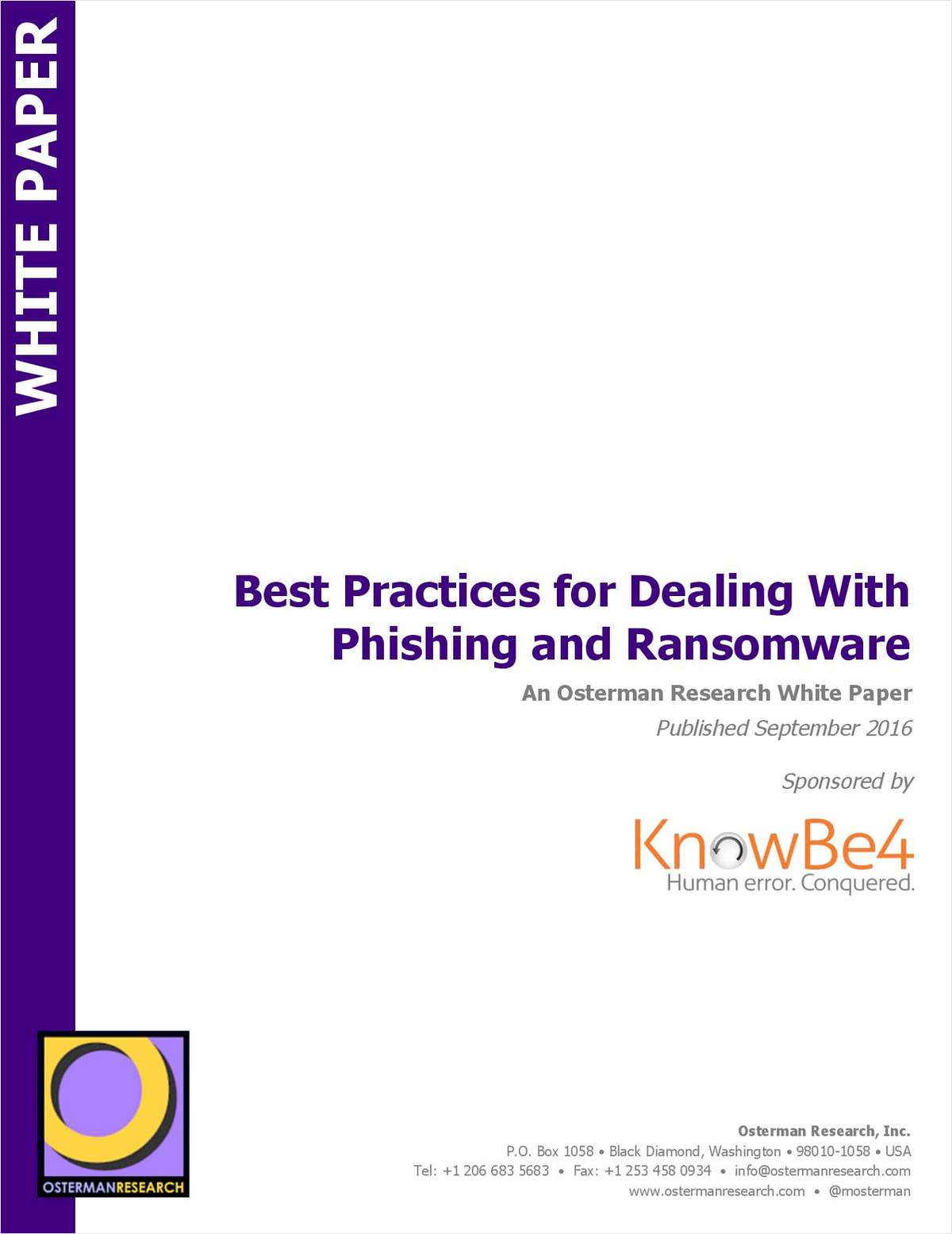 Best practices for dealing with phishing and ransomware free knowbe4 white paper