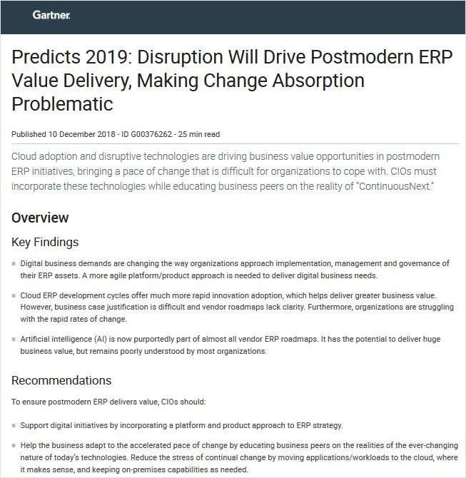 Gartner Predicts 2019 - Postmodern ERP, Free Workday, Inc